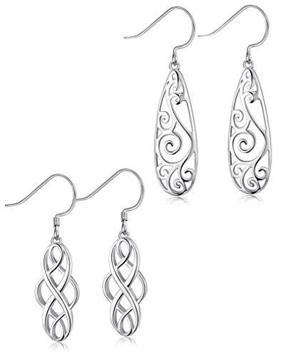 FUNRUN JEWELRY 1-2 Pairs 925 Sterling Silver Celtic Knot Dangle Earrings for Women Girls Filigree Teardrop Earrings