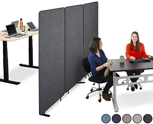 Stand Steady ZipPanels Office Partition | Room Dividers | Three Zip Together Panels Provide Privacy and Reduce Ambient Noise in Workspace, Classroom and Healthcare Facilities (Charcoal / 3 Panels))