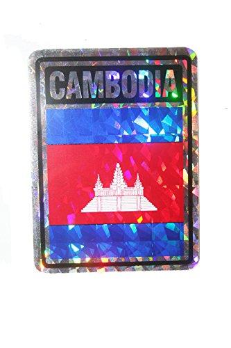 (Cambodia SQUARE Country Flag Metallic Bumper Sticker Decal .. Size : 4