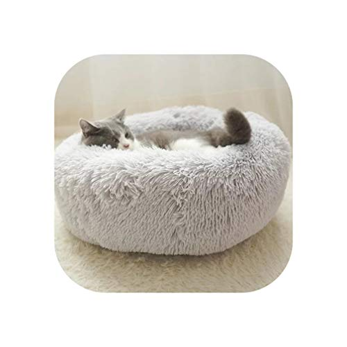 Round Plush Cat Bed Warm Thick Soft Pet Sofa Washable Cats Nest Litter Puppy Sleeping Cote Drop Supplier 50/60/70CM,Light Grey,M