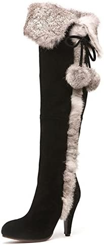 APHNUS Womens Boots Winter Fur Snow Tall Over The Knee Thigh High Boots