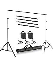 Neewer Foto Studio 3m breiter Querbalken 2m Hoch einstellbares Hintergrund Ständer System mit 3 Hintergrundklammern 2 Sandsäcken und Tragetasche für die Produkt Porträtfotografie