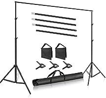 Neewer Système Support Toile Fond Photo Studio, 3m de Large 2m de Haut Support de Fond avec 4 Barres Transversales, 3...