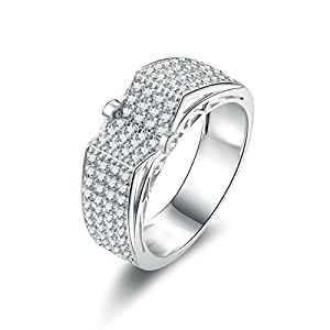 Daesar Sterling Silver Ring for Women Rings Promise Men Ring Iced Out Cubic Zirconia Ring Size 6.5