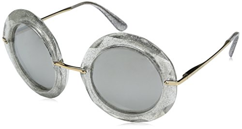 Dolce & Gabbana Women's Injected Woman Round Sunglasses, Crystal/Glitter Silver, 50.0 mm