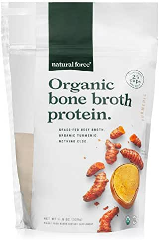 Organic Bone Broth Protein Powder, Best-Tasting Turmeric Flavor – Made from High Quality Grass-Fed Beef Bone Broth *No Fillers or Chicken, Rich in Ancient Collagen* by Natural Force, 11.6 Ounce