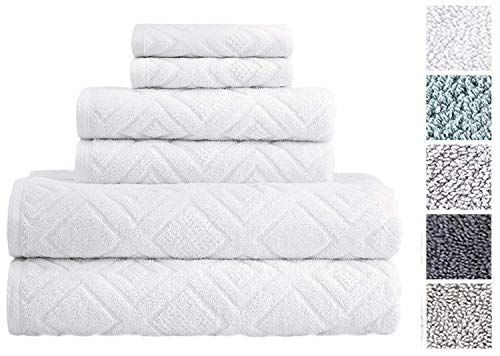 - Classic Turkish Towels 6 Piece Cotton Bath Towel Set - Luxurious Soft and Thick Bath Towels 600 GSM Made with 100% Turkish Cotton - Gemstone Towel Collection