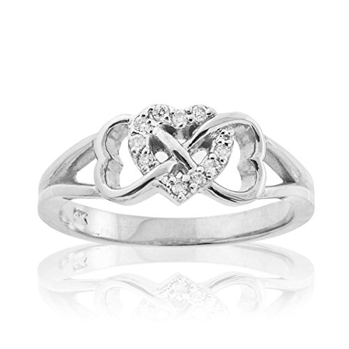 Solid 10k White Gold Diamond Triple Heart Infinity Ring