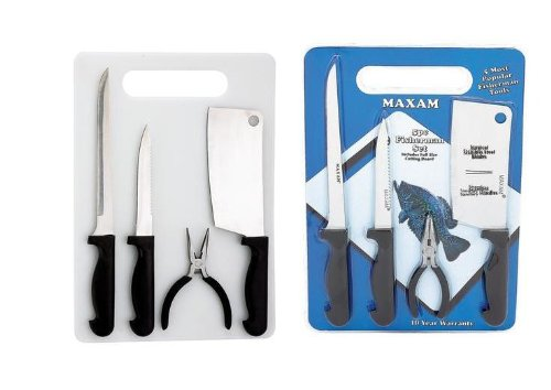 Angler 5 Pc Fish Cleaning Kit with Cutting Board/ Stainless Steel Fish Knives/manufacturer Warranty