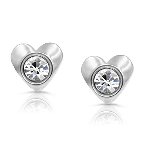 Price comparison product image 316L Surgical Steel Children's Heart Stud Earrings for Girls, Hypoallergenic, safety screw back
