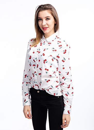 ERZTIAY Women's Blouses Casual Long Sleeve Work Button Down Dress Hawaiian Shirts Tops(White Cherry, Medium) ()
