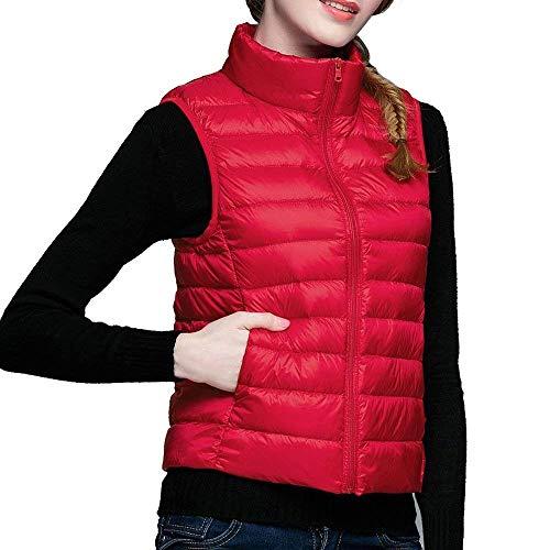 Gilet Vtements en Fit Doudoune Femme Manche Uni Col Gilet Outerwear Mode Ultralger Manteau Debout Elgante Vest Duvet Manches Femme Loisir Rouge Slim sans Courte rPxrOCwqn