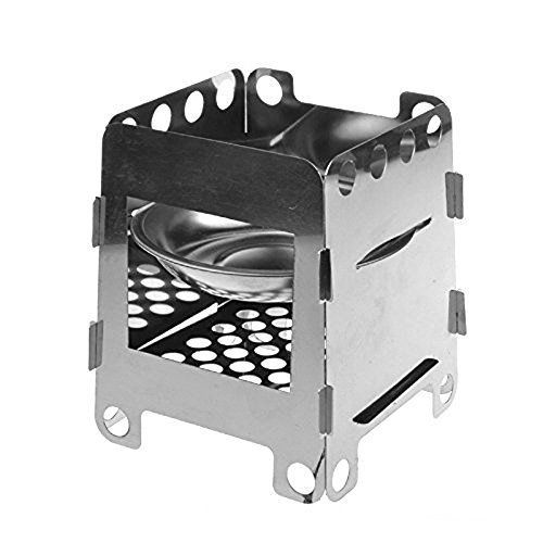 BeGrit Portable Stainless Steel Lightweight Folding Wood Stove Pocket Alcohol Stove Outdoor Cooking Camping Backpacking (Blower For Englander Wood Stove compare prices)