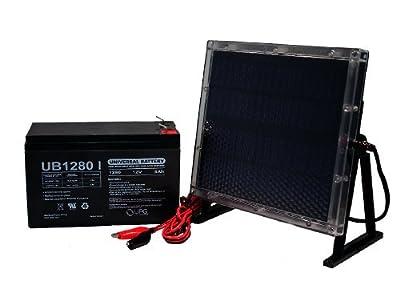 UB1280 12V 8AH Battery for Higdon Outdoors De-Icer + 12V Solar Panel Charger