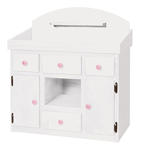 Deluxe Doll Changing Table Playroom Furniture USA Handmade, White & Pink by Clip Clop