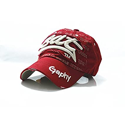 ... bat baseball cap cotton Letter snapback hats cap golf hats hip hop  fitted cheap polo hats for men women (Red Wine Color White Logo)    Everything Else 7108e708735