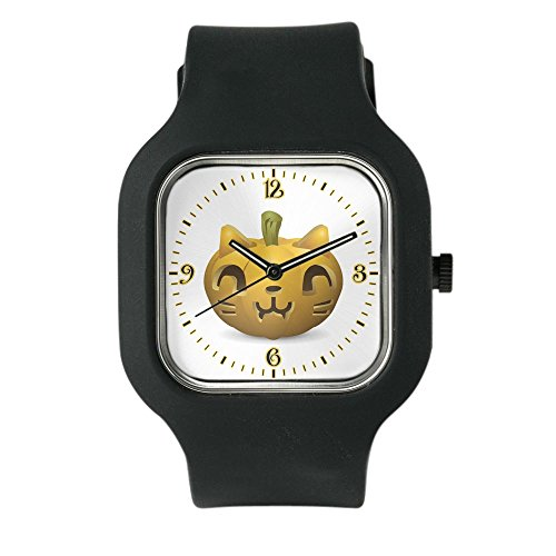 Black Fashion Sport Watch Kitty Cat Halloween Jack-O-Lantern