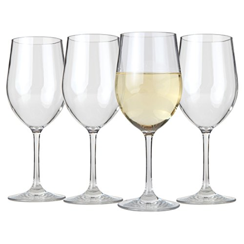 Lily's Home Unbreakable Chardonnay Wine Glasses, Made of Shatterproof Tritan Plastic and Ideal for Indoor and Outdoor Use, Reusable (12oz each, Set of 4)