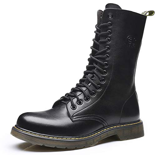 - SANTIMON Mens Casual Leather Boots Mid Calf Fashion Retro High Tops Hard Toe of Mens Work Combat Boots Black 12 D(M) US