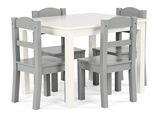 Dining Game Table Set Room (Tot Tutors TC534 Springfield Collection Kids Wood Table & 4 Chair Set, White/Grey)