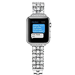 Pasnity Band for Apple Watch 38mm Series 1 / Series 2 / Series 3, Stainless Steel Handmade Crystals Replacement Bands for Apple Watch 38mm (Silver)
