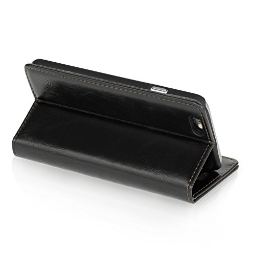 """Logic-Seek Case für iPhone 6 (4,7 Zoll) Hülle Leder Flip Cover Schutzhülle - Schwarze Lederhülle im Book-Style mit Standfunktion und Kartenfach für Apple iPhone 6 (4,7"""") - Schwarz"""