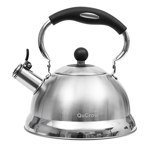 QuCrow Whistling Tea Kettle with Heat-Proof Handle, Kitchen Grade Stainless Steel Teapot Stovetops, 3 Quart, Silver