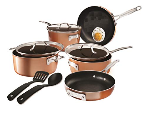 Gotham Steel Stackable Pots and Pans Stackmaster 10 Piece Cookware Set with Ultra Nonstick Cast Texture Ceramic Coating…