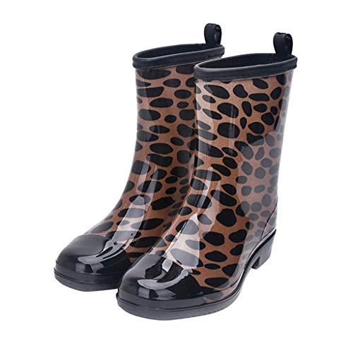 (Jiu du Women's Block Heel Waterproof Rain Boots and Garden Round Toe Fashion Rain Shoesleopard Print PVC Size US7.5 EU37)