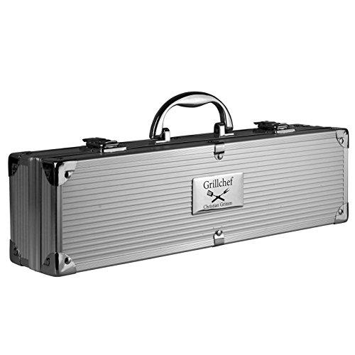 Grillkoffer BBQ Koffer Grillbesteck 3-teilig mit Ihrer individuellen Gravur