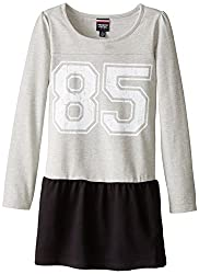 French Toast Little Girls' Toddler Long Sleeve Varsity Drop Waist Dress, Heather Grey, 2T