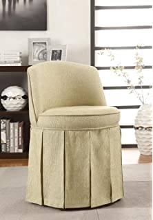 Delmar Swivel Vanity Stool W / skirt, LWBK/IVRY DMSK, CHERRY ...