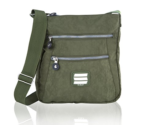 Multi Pocket Handbag Go Anywhere Khaki Crossbody Lightweight 20103 Everyday Suvelle Travel Shoulder Bag gUA0qxw