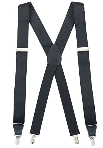 Hold'Em 100% Silk Suspenders For Men X - Back Fancy Solid Clip End Dress Suspender Made in USA - Many Colors and Designs Perfect for Tuxedo -Black