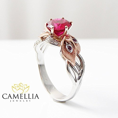 Natural Ruby Engagement Ring Unique 14K 2 Tone Gold Ring Calla Lily Design Custom Ring with Natural Side Diamonds ()
