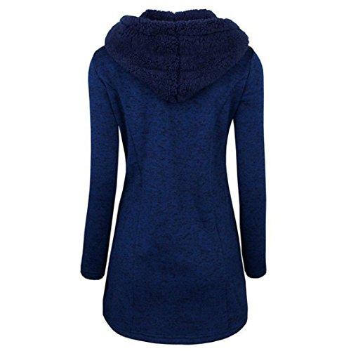 QinMM con mujeres de botones coat Abrigo cálidos de Sudadera grueso parka para capucha Azul Abrigo tgzwqZ4z