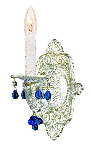 Group 5201 Sutton 1 Light Candle Style Wall Sconce, Antique White / Rosa Crystal (Aw Blue Crystorama Lighting)