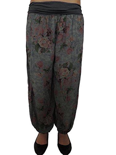 11 Farben Damen Pumphosen mit Rosendruck Gr 42 44 46 48 50 52 54 Dunkelgrau
