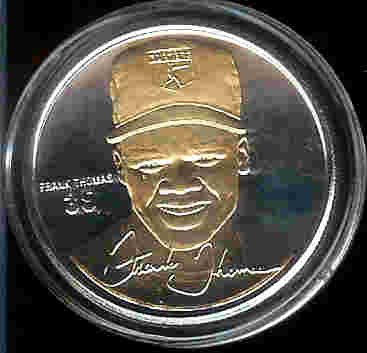 1997 Highland Mint SIGNATURE SERIES MLB Baseball Collectible Coin Set: Gold/Silver Two Tone: Frank Thomas - Chicago White Sox ()