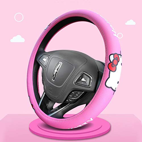 15 Inch Steering Wheel Cover, Cartoon Pattern Designed Universal Size for Vehicle Truck SUV Auto Van Car Decor Accessories - Microfiber Leather (Hello Kitty) ()