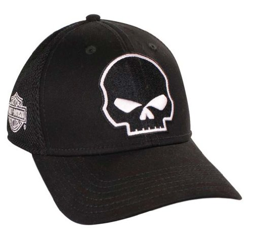Harley Davidson Fitted Hats: Harley-Davidson Willie G Skull Black Baseball Cap Flex Fit