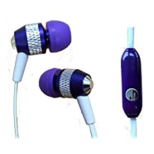 Super Bass Metal In-Ear Noise Isolating 3.5mm Stereo Earbuds/ Headset/ Handsfree/ Earphones for Samsung Galaxy Note 10.1 (2014 Edition) (Purple) + MYNETDEALS Stylus