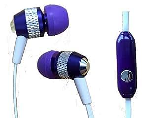 Heavy Duty 3.5mm Stereo Headset Earphones for LG G2 (Purple) - with Microphone + MYNETDEALS Stylus