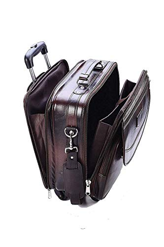 Borse Brown Leatherette Overnighter Trolley Four Wheeler – Laptop Trolley Bag