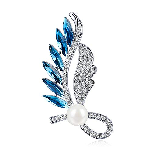 - J.MeMi'S Brooch Feather Shape Pins Zircon Rhinestone Brilliant Simple Fashion Lapel Jewelry, Perfect Present to Girlfriend Wife,Blue