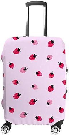 スーツケースカバー 伸縮素材 トランク カバー 洗える 汚れ防止 キズ保護 盗難防止 キャリーカバー おしゃれ 可愛い 苺 ピンク ポリエステル 海外旅行 見つけやすい 着脱簡単 1枚入り