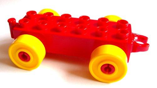 Lego Duplo Auto Anhänger Stein 2x6 rot + gelbe Räder Eisenbahn