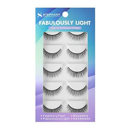Stephany Natural 5 Pairs Faux Mink False Eyelashes Multipack Easy to Apply Fake Eyelashes Reusable Light Weight Eye Lashes