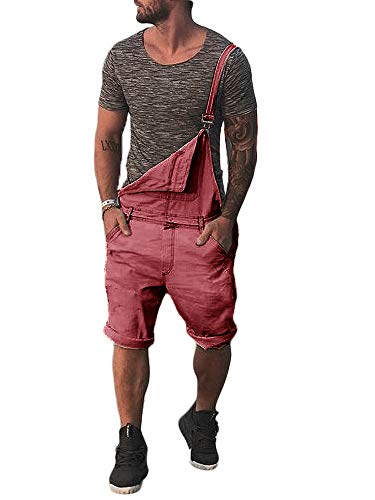 (Gtealife Mens Bib Overall Shorts Cotton Lightweight Casual Loose Fit Walkshort Jumpsuit Button Hole Rompers Red)