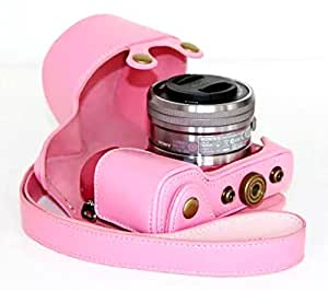 Anti-shock PU Leather Cover Case for Sony A5100 A5000 Digital Camera (Pink)